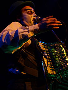 Martyn Jacques during a live performance with the Tiger Lillies in Kaserne Basel, Switzerland on 29 December 2007.