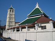 Kampung Kling Mosque, Malaysia, with a cross between Sumatran, Chinese, Hindu, and the Malacca Malay influences.