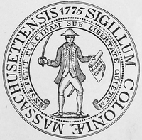 Massachusetts seal of 1775 Ense petit placidam sub libertate quietem.png