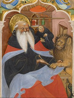 Master of the Murano Gradual (Italian, active about 1430 - 1460) - Saint Jerome Extracting a Thorn from a Lion's Paw - Google Art Project.jpg