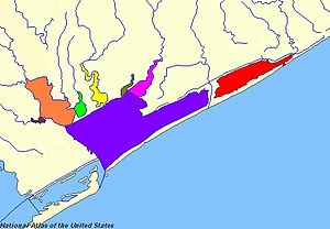 Matagorda Bay - Carancahua Bay (yellow), Chocolate Bay (brown), East Matagorda Bay (red), Keller Bay (lime), Lavaca Bay (orange), Matagorda Bay (purple), Tres Palacios Bay (magenta), Turtle Bay (olive)