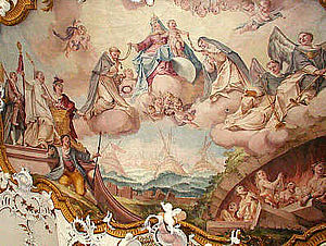 Matthäus Günther - Fresco (1755) with scenes of the Battle of Lepanto in the Augustinian Canonry in Markt Indersdorf