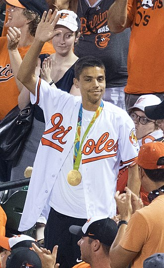 Matthew Centrowitz Jr. - Centrowitz attended Baltimore Orioles baseball game after winning gold medal in 2016 Summer Olympics