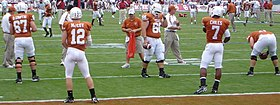 McCoy and Chiles in pre-game warmups Red River Shootout 2007 crop2.jpg