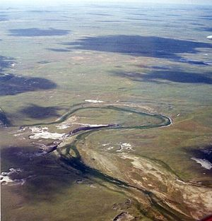 Exhumed river channel - Exhumed river channels were once the site of a river system. Sand was deposited in the channel and mud on the adjacent floodplain as seen with this meandering river in western South Dakota.