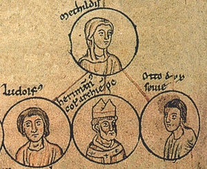 Herman II (archbishop of Cologne) - Herman with his mother Matilda and his siblings Liudolf and Otto