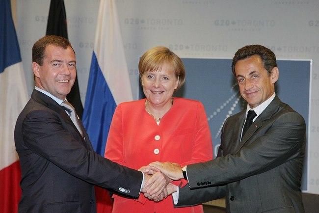 Medvedev Merkel Sarkozy at Toronto G20