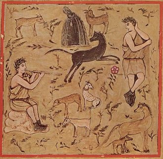 Pastoral - Georgics Book III, Shepherd with Flocks, Vergil (Vatican Library)