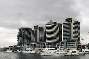 Melbourne Docklands area, taken from the terra...