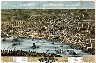 History of Memphis, Tennessee - Historic aerial view of Memphis (1870)