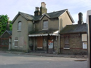 Merton Park railway station - Merton Park railway station during construction of Croydon Tramlink and prior to restoration as private residence