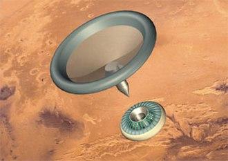Mars MetNet - Artist's rendering of a MetNet impactor entering the Martian atmosphere. Lower module: inflatable heat shield; upper module: 1.8 m inflatable decelerator