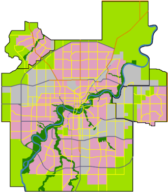 North Saskatchewan River valley parks system - The North Saskatchewan River flows through the City of Edmonton from the southwest to the northeast.  On this map, parks are marked in dark green.