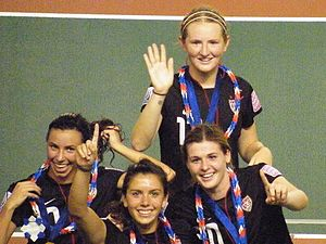 Sam Mewis - Mewis (top) celebrating the 2012 FIFA U20 Women's World Cup win with Vanessa DiBernardo, Molly Pathman and Kelly Cobb
