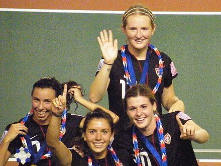 Mewis (top) celebrating the 2012 FIFA U20 Women's World Cup win with Vanessa DiBernardo, Molly Pathman and Kelly Cobb Mewis, DiBernardo Pathman Cobb celebrating FIFA U-20 Women's World Cup 2012 Awards Ceremony 08 (cropped).JPG