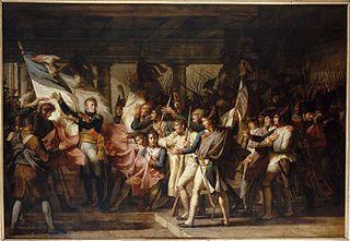 Le maréchal Ney remet aux soldats du 76e régiment de ligne leurs drapeaux retrouvés dans l'Arsenal d'Insbruck.7 Novembre 1805