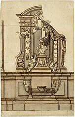 Design for the gravestone of Jacobus Franciscus van Caverson in the former Dominican Church in Brussels