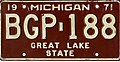 Michigan 1971 license plate - Number BGP-188.jpg