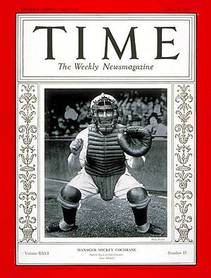 Mickey Cochrane - Mickey Cochrane in the cover of Time magazine in 1935