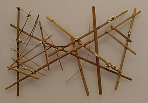 Marshall Islands stick chart - A Micronesian navigational chart  from the Marshall Islands, made of wood, sennit fiber and cowrie shells