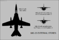 Mikoyan-Gurevich MiG-23 silhouette showing external stores configurations.png