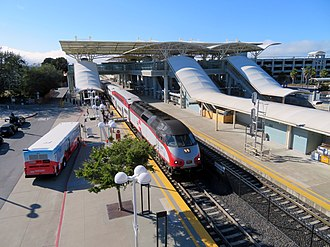 Millbrae station - A southbound Caltrain train at Millbrae in July 2018