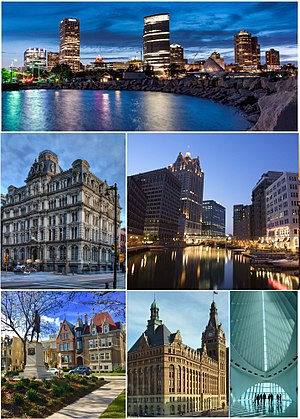 Clockwise from top: Milwaukee skyline from Discovery World, downtown at night along the Milwaukee Riverwalk, inside the Milwaukee Art Museum, Milwaukee City Hall, Burns Commons in the East Side neighborhood, and the historic Mitchell Building