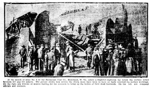 Monongah mining disaster - Artistic view of the explosion at the No. 8 mine.