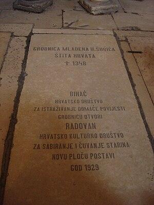 Mladen III Šubić - Image: Mladen III Šubić nadgrobna ploča u Trogirskoj katedrali