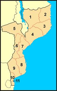 Mapa de Moçambique com as províncias numeradas