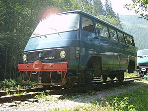 Mocăniță - A Rocar minivan on rails