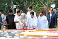 Mohd. Hamid Ansari and the Union Minister for Civil Aviation, Shri Ajit Singh paying floral tributes at the Samadhi of the former Prime Minister, Late Ch. Charan Singh, on his 25th death anniversary, at Kisan Ghat, in Delhi.jpg