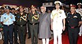 Mohd. Hamid Ansari at the 'Shauryanjali', a commemorative exhibition on Golden Jubilee of 1965 war, at India Gate, in New Delhi. The Chief of Naval Staff, Admiral R.K. Dhowan, the Chief of the Air Staff.jpg