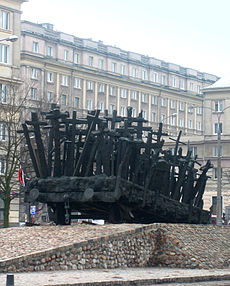 "Momentum, a cast-iron memorial to Polish people ""deported"" to their deaths in World War II, Warsaw"