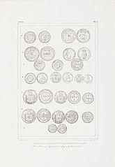 Monnaies bresiliennes de diverses epoques. 1 Cuivre. 2 Cuivre, 3 Argent, 4 Or, 5 Argent, 6 Cuivre, 7 Cuivre
