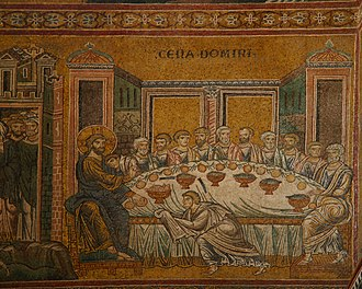 Banquet - Mosaic of the Last Supper in Monreale Cathedral.