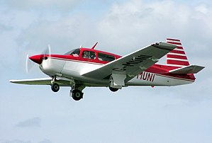 Landing gear - A Mooney M20J with tricycle undercarriage.