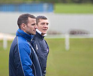 Ramsbottom United F.C. - Former management duo Bernard Morley (left) and Anthony Johnson.