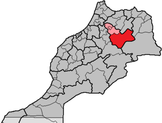 Boulemane Province -  Location of the province Boulemane within the region Fès-Boulemane, Morocco, prior to the merger in 2015. At this time Morocco had 16 regions, subdivided into 62 provinces and 13 prefectures.