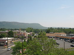 View of Mount Tom from the center of Easthampton