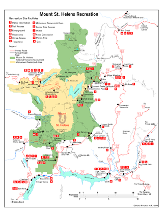 Mount St. Helens National Volcanic Monument - Map of the site