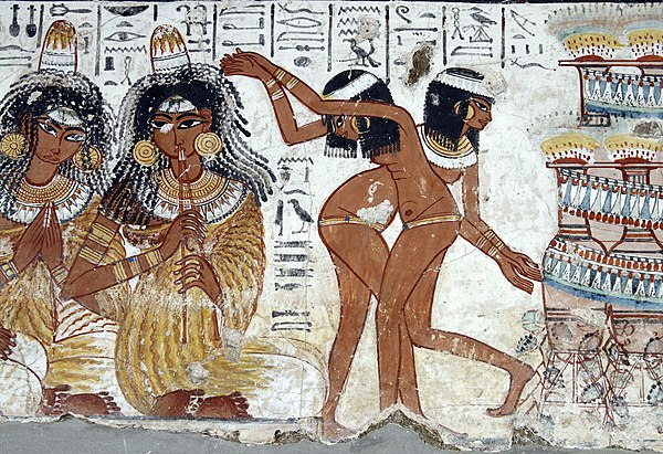 Naked female dancers in a painting from the Tomb of Nebamun, c. 1350 B.C., New Kingdom