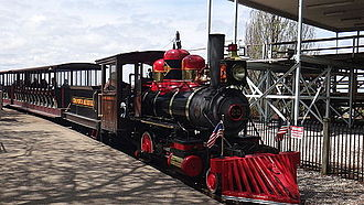 Cedar Point & Lake Erie Railroad - Myron H. pulls train into the Frontier Town Station.