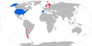 NASAMS - Map with NASAMS operators in dark blue with NASAMS 2 operators in light blue