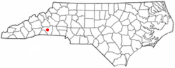Location of Rutherfordton, North Carolina