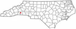 Location of Rutherfordton, North Carolina