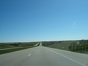 Interstate 94 - East bound on I-94, the main highway east–west through North Dakota.