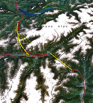 Lötschberg Base Tunnel - The Lötschberg Base Tunnel together with the century-old Simplon Rail Tunnel form the western part of the NRLA project (yellow: major tunnels, red: existing main tracks, numbers: year of completion)