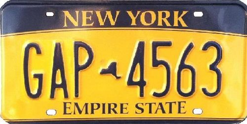 Current New York license plate