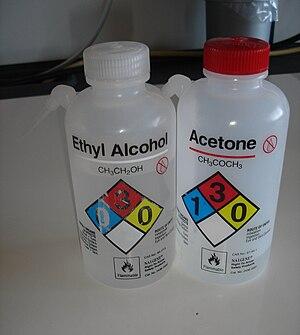Nalgene - Two Nalgene bottles featuring the NFPA 704 color code for hazardous materials identification
